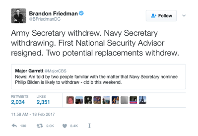 Tweet about DoD candidates begging off