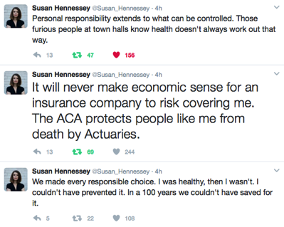 Three tweets about personal responsibility and health care by Susan Hennessey