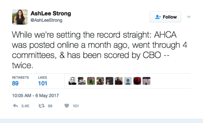 Tweet showing an outright lie about review of the House AHCA bill