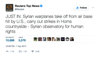 Tweet by AFP reporting Syrian airfield back in operation next day
