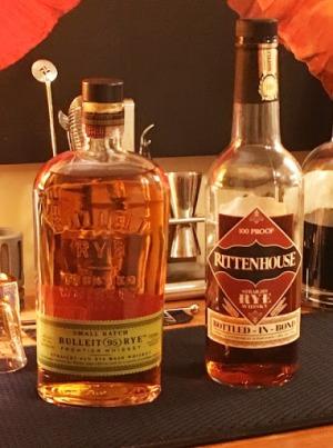 Bulleit and Rittenhouse rye whiskeys