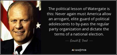 President Ford explaining how Watergate-like scandal can never happen again