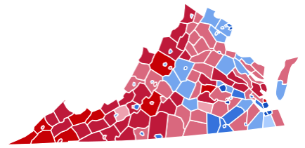 2012 Virginia electoral map for the US presidency
