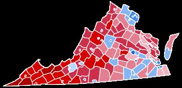 2016 Virginia electoral map for US presidency