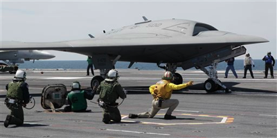 First at-sea catalpult launch of X-47B drone
