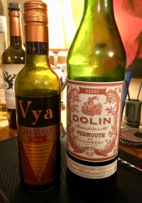 Two bottles of sweet vermouth, Vya and Dolin