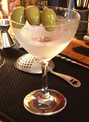 A gin Martini served up with olives