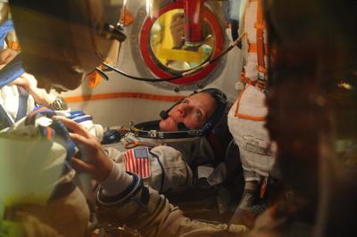 Astronaut Karen Nyberg in Soyuz launch capsule