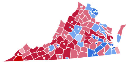 2008 Virginia electoral map for the US presidency
