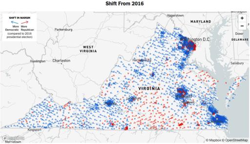 Virginia voting shift since 2016